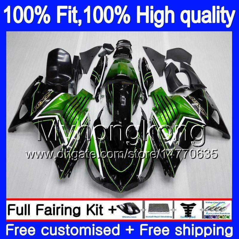 Iniezione per Kawasaki ZX 14R ZZR1400 2006 2007 2008 2009 2010 2011 223MY.0 ZZR1400 ZX14R ZX14R 06 07 08 09 10 11 carenature verde nero caldo