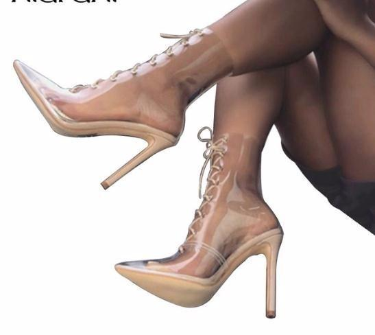 Sexy Pvc Transparent Boots Sandals Pointed Toe Thin High Heels Shoes Jelly Ankle Cross Tied Lace Up Pumps Mujer Women Boot