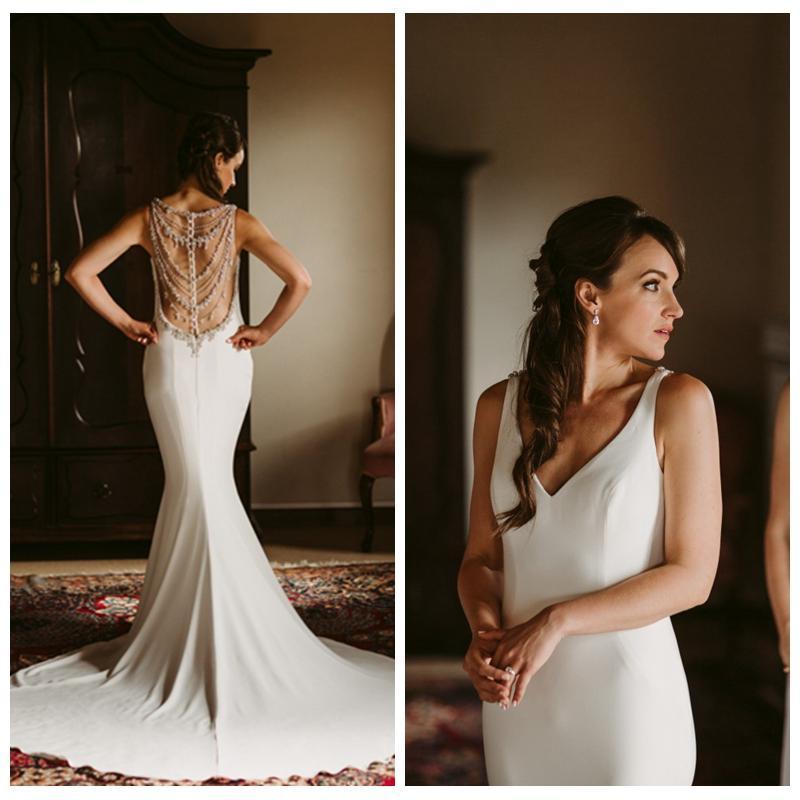 Sedutor Branco Sereia vestidos de casamento on-line V-Neck Sheer Voltar vestidos de casamento Sexy com cristais Beading Tribunal Trem Vestidos de casamento