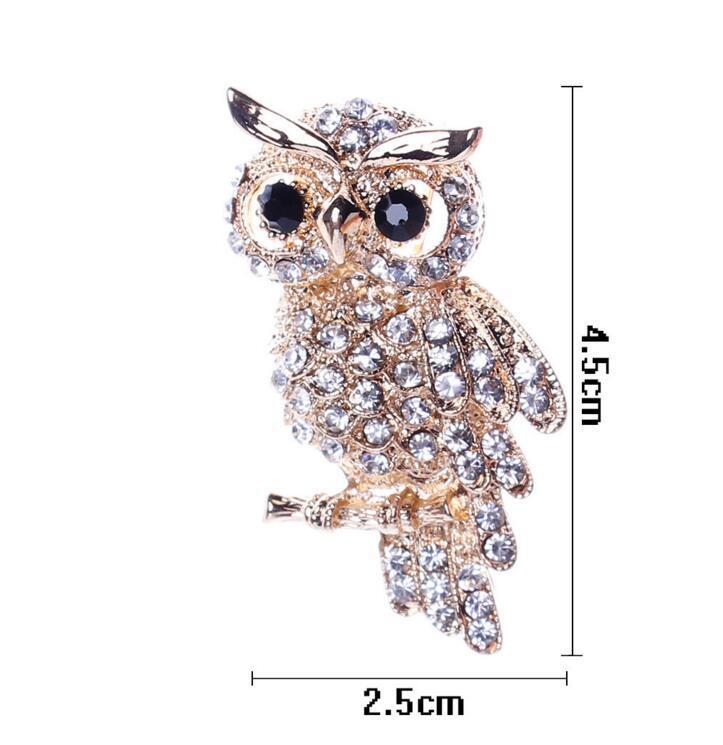 DHL Crystal Rhinestone Owl Brooches Fashion Costume Pin Brooch Jewelry gift For Weddings Diamond Broochpin Wedding Banquet nt