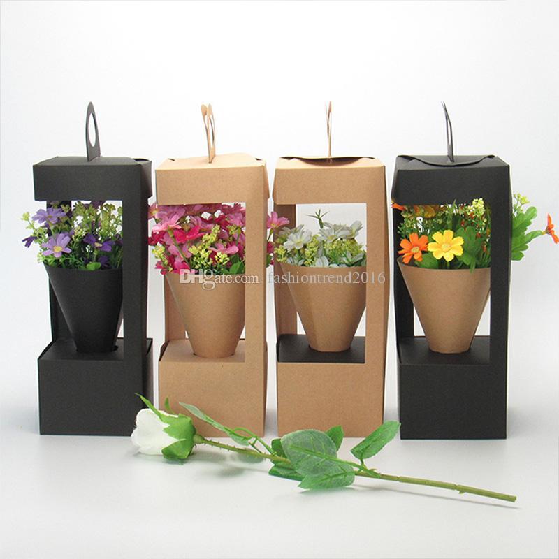 Çiçek Ambalaj Hediyelik Kutular Kraft Kağıt Çiçekli Saplı Kutulu Siyah / Kahverengi Renk