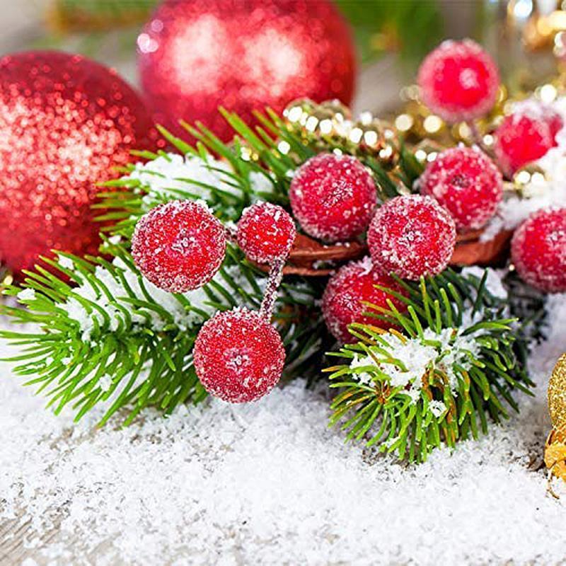 Jefes 40pcs Mini esmerilado de Navidad artificial Berry Vivid bayas rojas del acebo del árbol de navidad decorativo artificial flores dobles