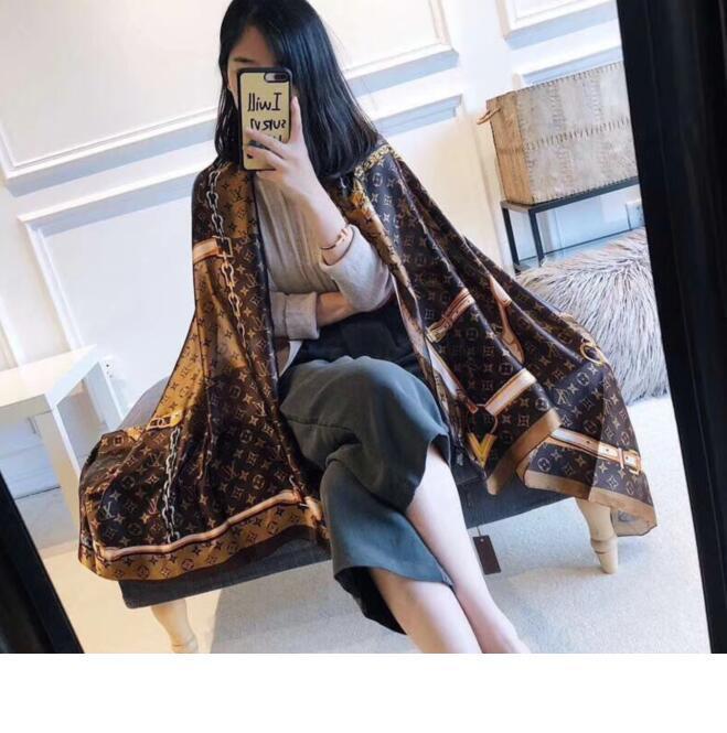 Designer de venda de luxo de alta qualidade high-end designers de primavera lenço da forma senhora de seda e verão novo impresso lenço 180 *