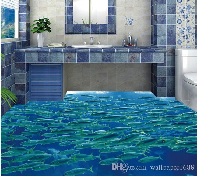 Poisson d/'eau Salle de bains saut Photo Toile Wall Art Carré imprimé bleu