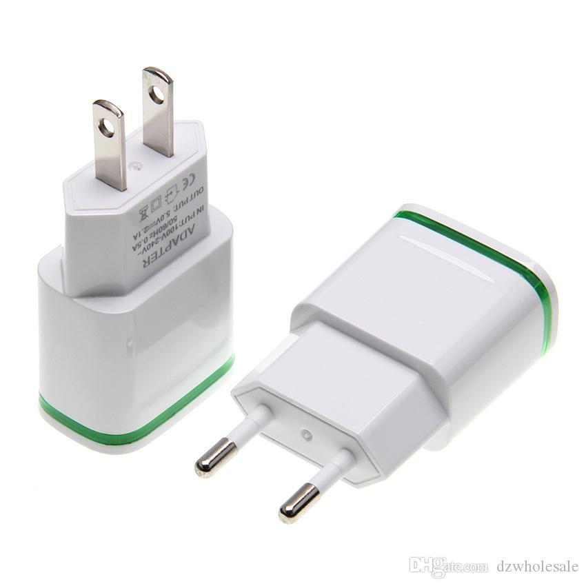 LED Light Up Два порта USB Travel Главная Адаптер питания 5V 2.1A + 1A AC EU штепсельной вилки США зарядное устройство