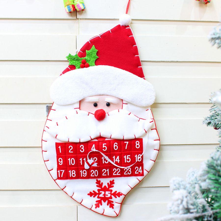 Weihnachtsbaum-Kalender 2 Styles Non-Woven-Weihnachtsmann Schneemann-Countdown Zeitplan Kalender Weihnachtsdekoration 10pcs OOA7279-2