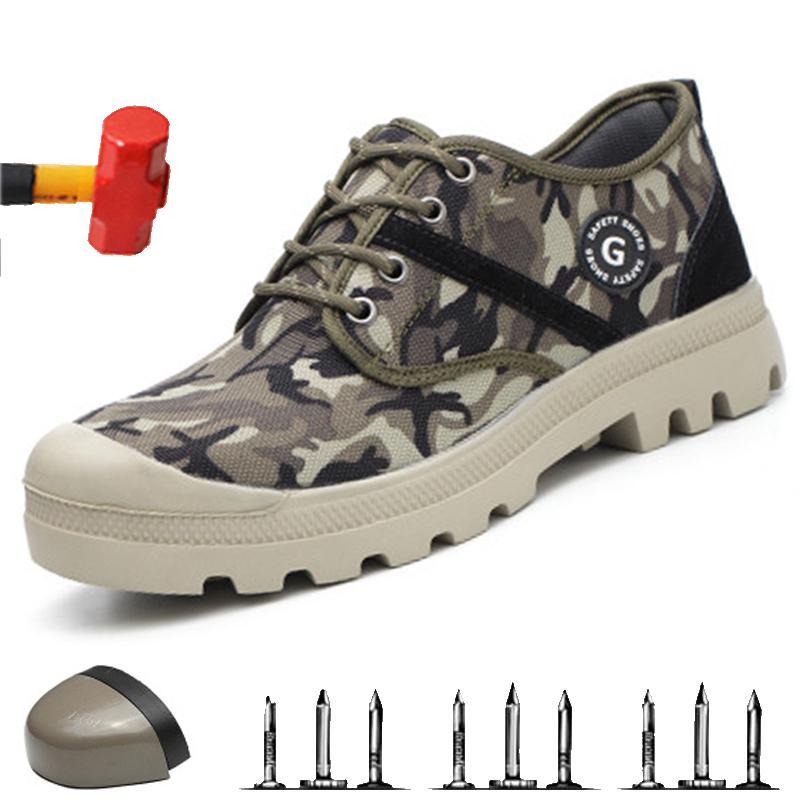 Çelik Burun Emniyet Ayakkabıları Delinme Kanıtı Çalışma Güvenli Kamuflaj Bahar Mesh Nefes Casual Ayakkabı Erkekler Çalışma Sneakers