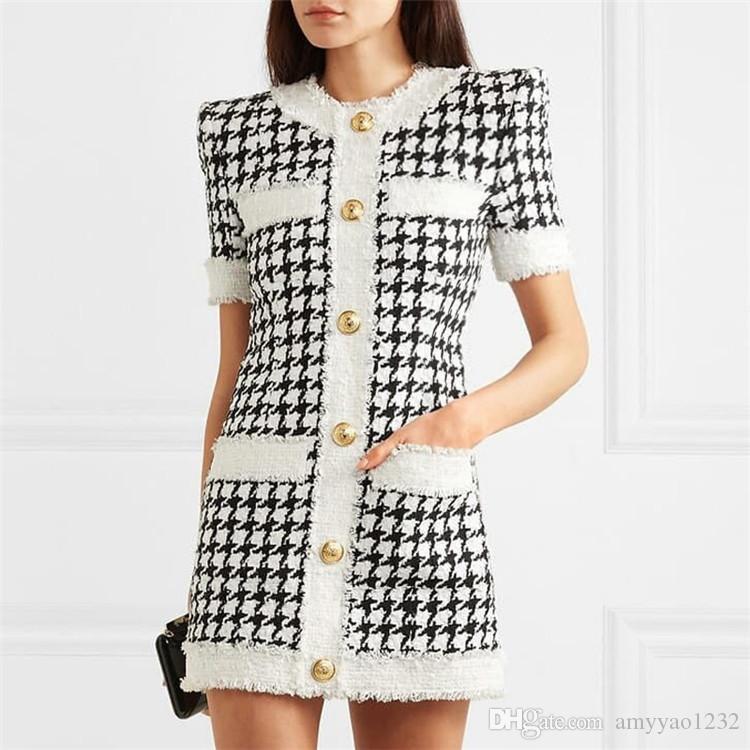 420 2019 Marke gleichen Stil Kleid Flora Print Plaid Kurzarm über dem Knie Luxus Prom Mode Damenbekleidung CHANGJI