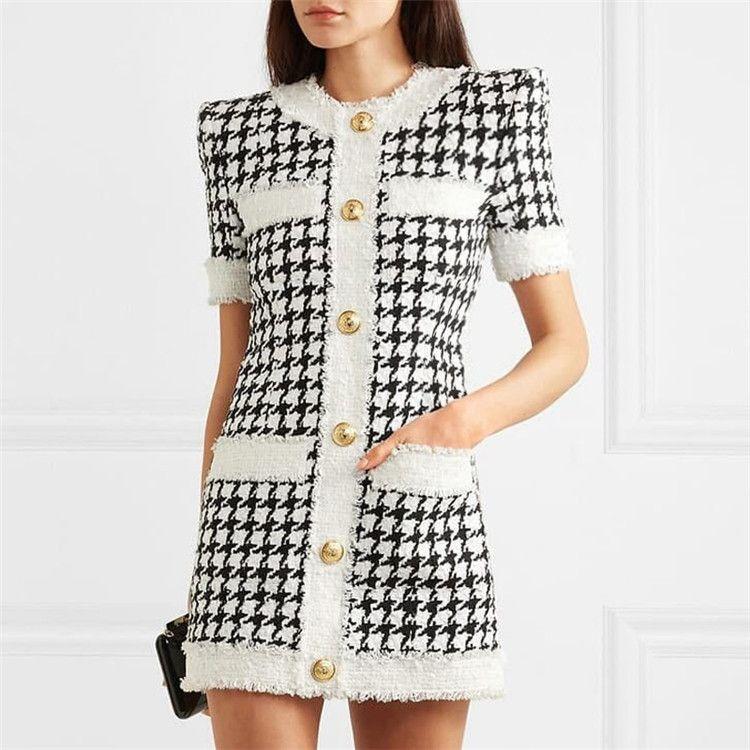 420 2019 브랜드 같은 스타일의 드레스 플로라 프린트 격자 무늬 반팔 무릎 위의 무도회 댄스 파티 패션 여자 옷 CHANGJI