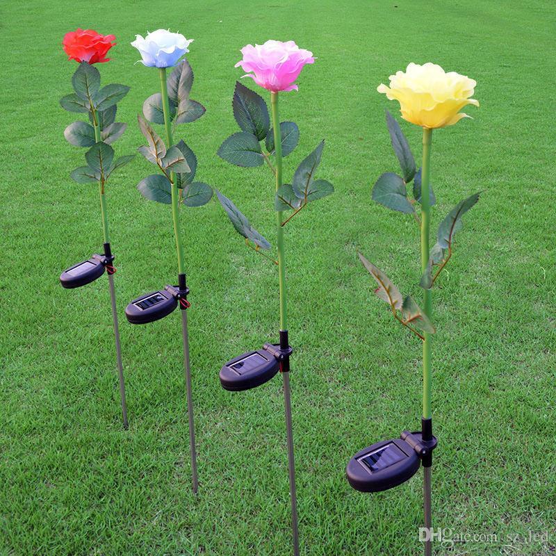 2V / 60mA 태양 전원 로즈 꽃 LED 가든 스테이크 가로등 야외 마당 LED 빛
