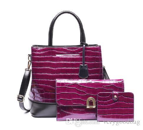 Новая мода кожаные сумки 3 Установить сумки женщин Роскошный большой емкости Tote Bag Кошельки и сумки оптом сцепления Кошелек