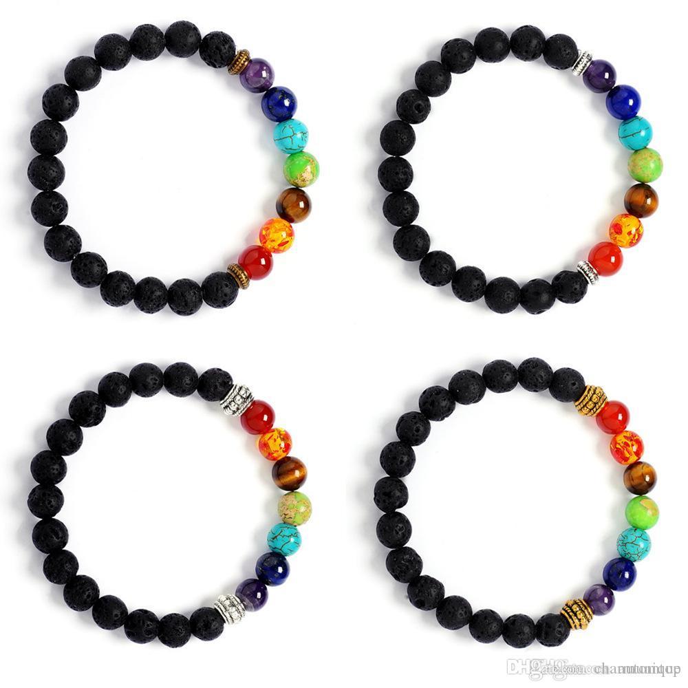 DHL libre Nuevos Hombres Negro Lava Curación Perlas de Equilibrio Pulsera Reiki Buddha Oración 7 Pulsera de Chakra Piedra Natural Pulsera de Yoga Para Mujeres