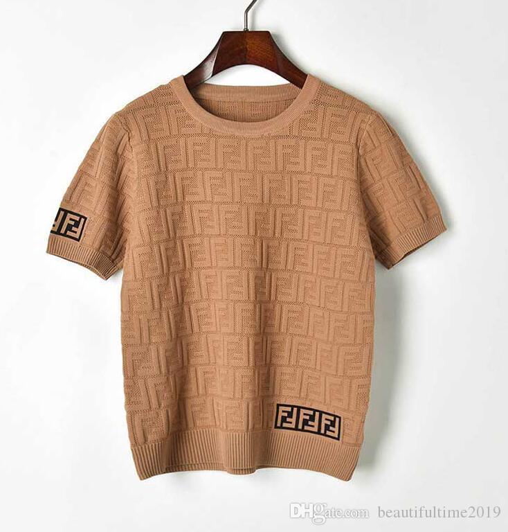 Yeni bahar ve yaz 2019 çift F harfli yuvarlak yaka Kazak içi boş kısa kollu örme tişört moda bluz