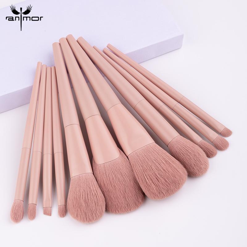 ANMOR 11pcs Maquillage Pinceaux poudre blush ventilateur brosse fard à paupières Pinceau estompeur Shading Sourcils Contour Make Up Tool