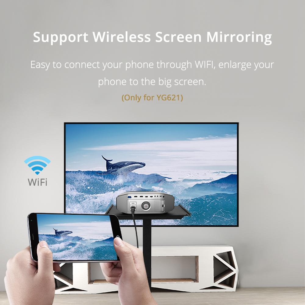 Freeshipping YG620 Full HD Projector Native 1080P Proyector Support AC3 YG621 Wireless WiFi Multi-Screen HDMI VGA USB Home Theater