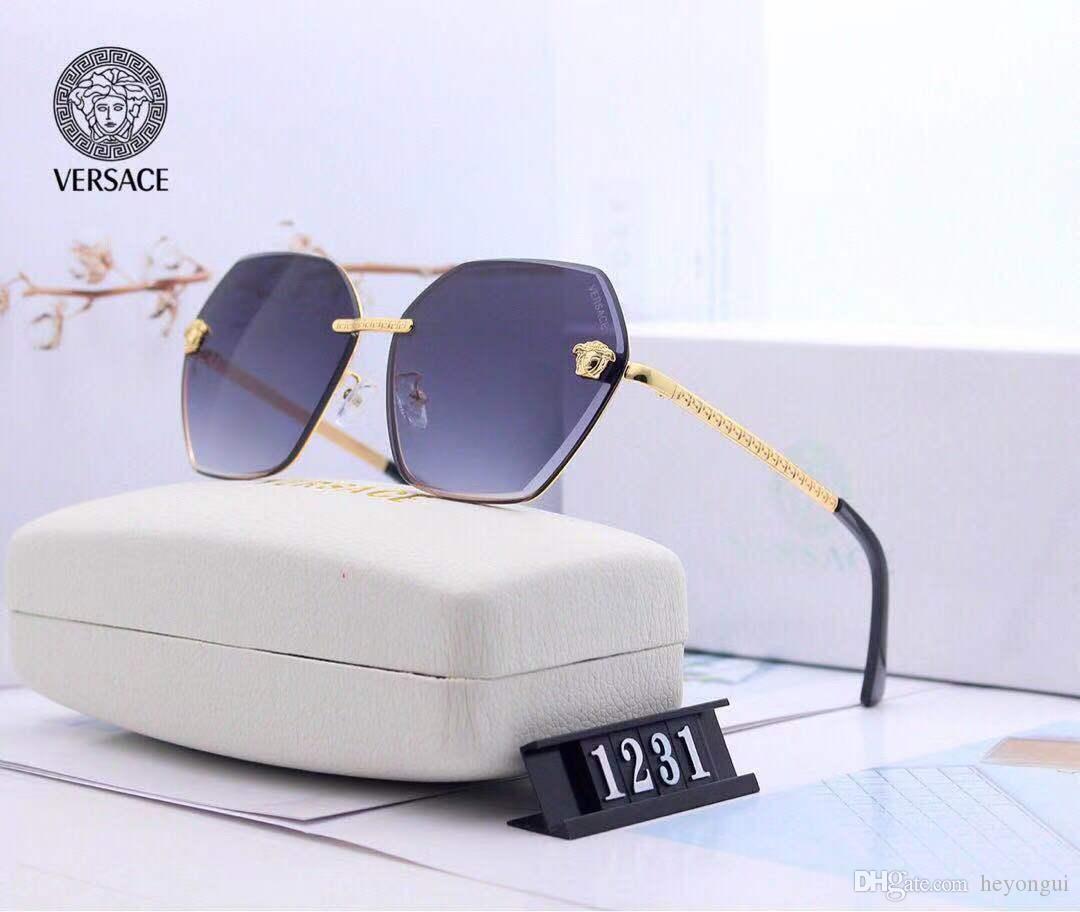 1231 Erkekler ve kadınlar için yeni tasarımcı güneş gözlüğü, erkekler ve kadınlar için boy güneş gözlüğü ile açık havada serin görünüyor