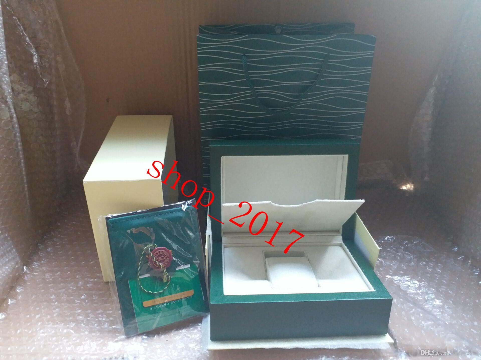 New Style Brand Green Watch Original Wood Box Papers Gift Watches Boxes Leather bag Card For Rolex Box Watch Box 12368.