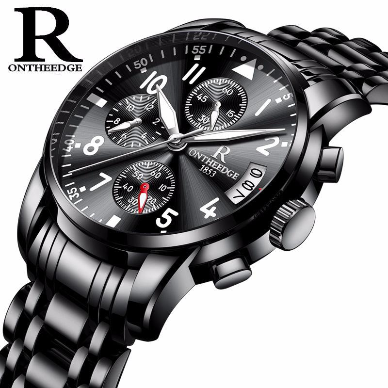 Refined Steel Shell Steel Bring More Function Steel Sheet Round Quartz 6 Needle Business Affairs Non Mechanics Wrist Watch