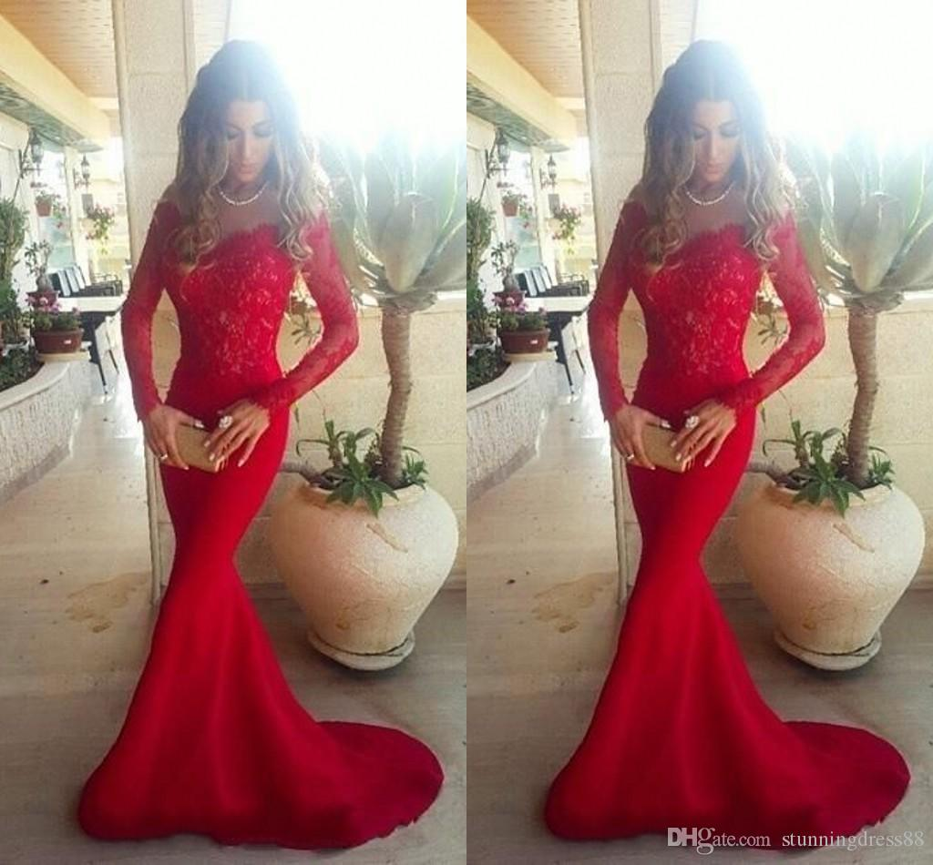Red Long Sleeves Mermaid Lace Evening Party Dresses Scoop Neck Applique African Designer Cheap Long Prom Formal Homecoming Dress New