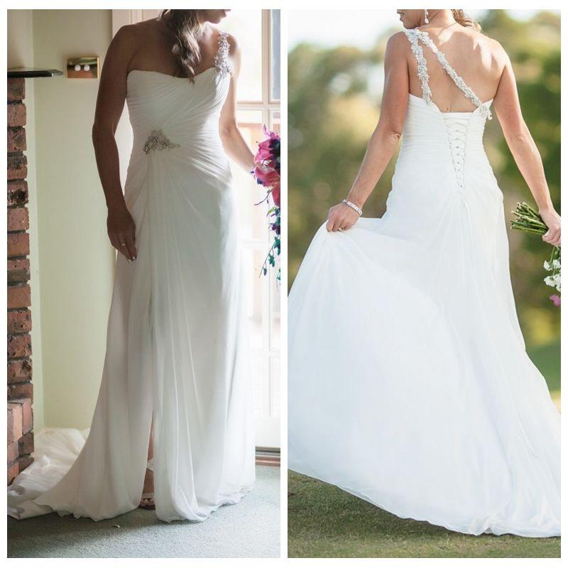 Blanco elegante playa de la gasa vestidos de novia con alta Dividir un hombro vestido de novia Cristales rebordear vestidos de novia vestidos de noche