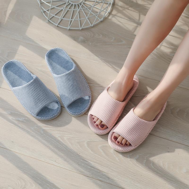 primavera giapponese e autunno quattro stagioni a righe paio di pantofole femminile inverno casa non domestici interni scivolano spessore sl cotone delle famiglie in basso