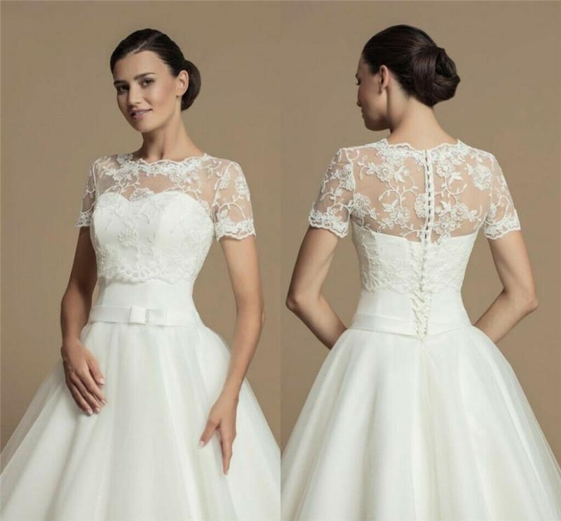 Hot Short Sleeve Off The Shoulder O-Neck Wedding Bolero Bridal Jacket Lace Applique Top White Ivory Wrap Custom Size Jackets