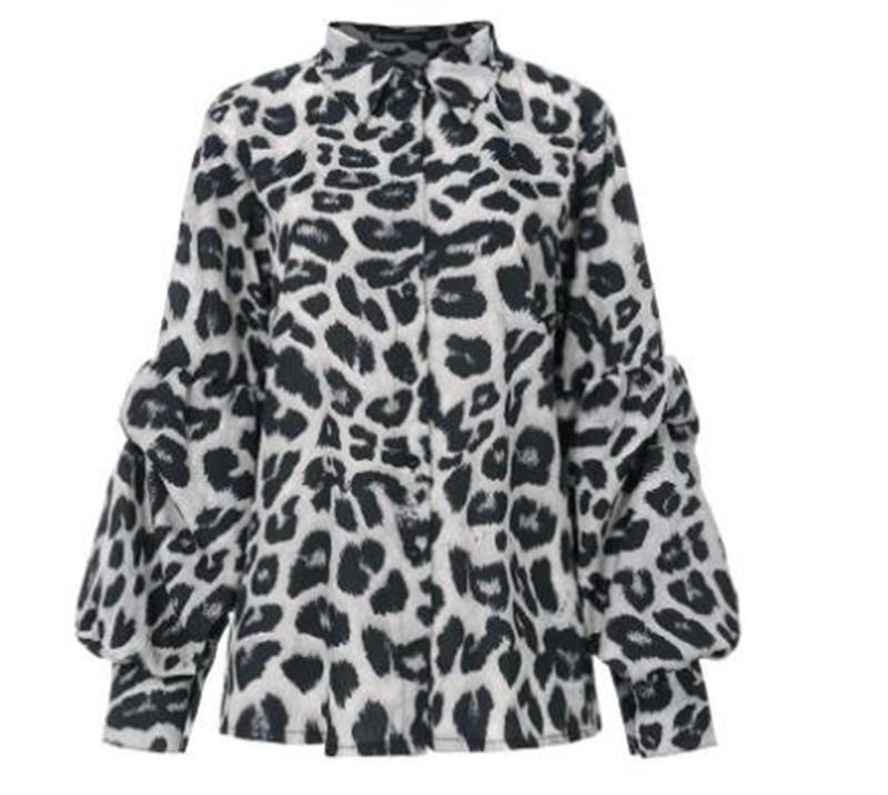 Kadınlar Gömlek Tasarımcı Uzun Kollu Leopar Tane Noktalar Yaka Pamuk Moda Gömlek Yaz Lady Clothes Standı