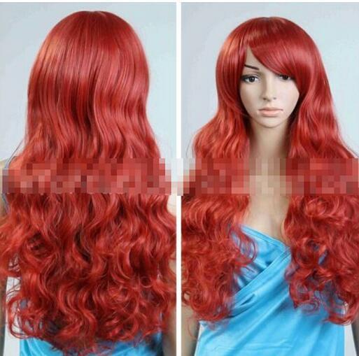 Ladies Auburn Red Straight Long Wig Full Fringe Fashion Cosplay Fancy Dress