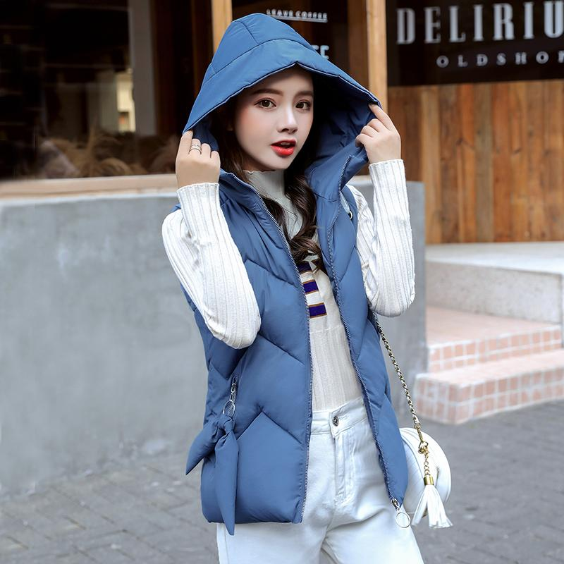 Hooded Warm Vest Autumn And Winter Vests For Women Short Solid Cotton Padded Jacket Sleeveless Female YTNMYOP