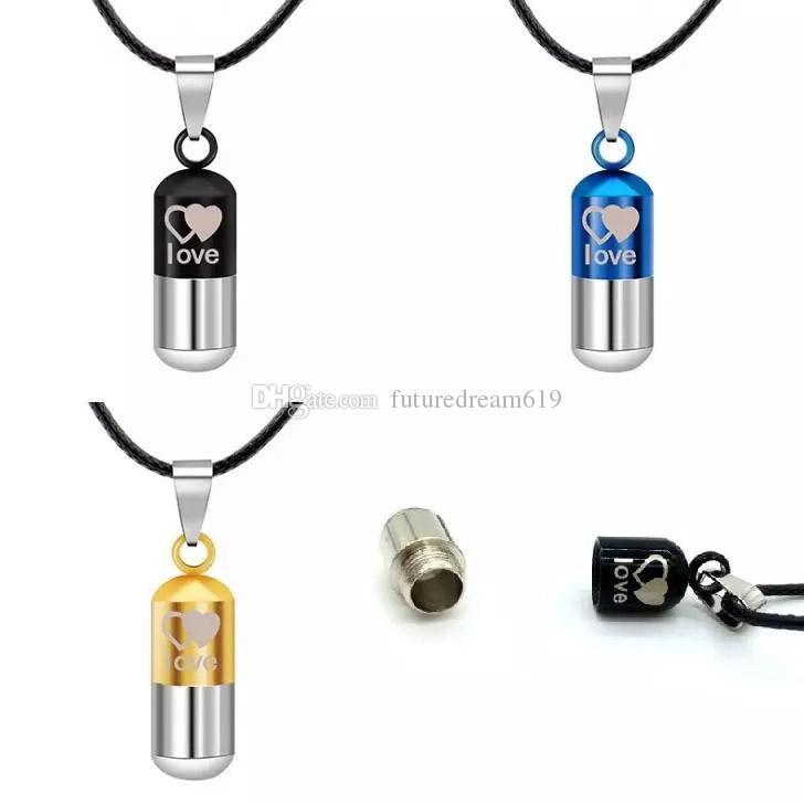 Urne en métal incinération coeur sauver l'amour peut ouvert pilules pendentif couple collier porte-cendres Mini souvenir bijoux collier de bouteille de parfum