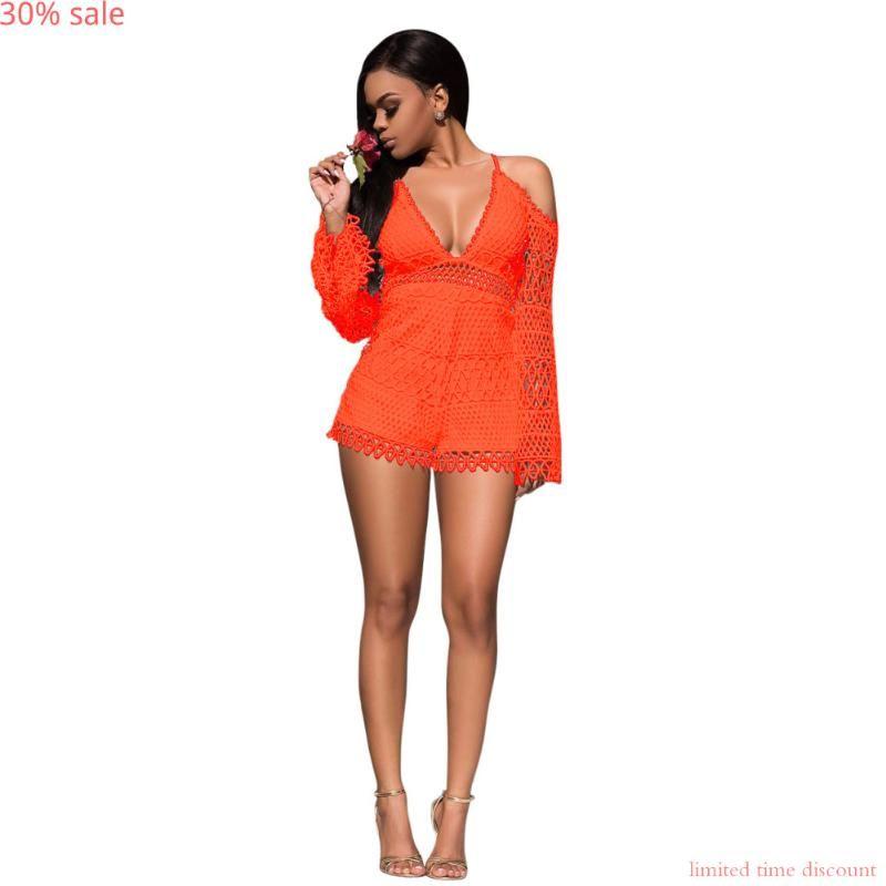 Red kurze Spitze Jumpsuit 2020-Sommer-Frauen-reizvolle Spitze-Spielanzug-Mode tiefer V-Ausschnitt Back Up Zip aushöhlen Body Outfit mit kurzen Hosen