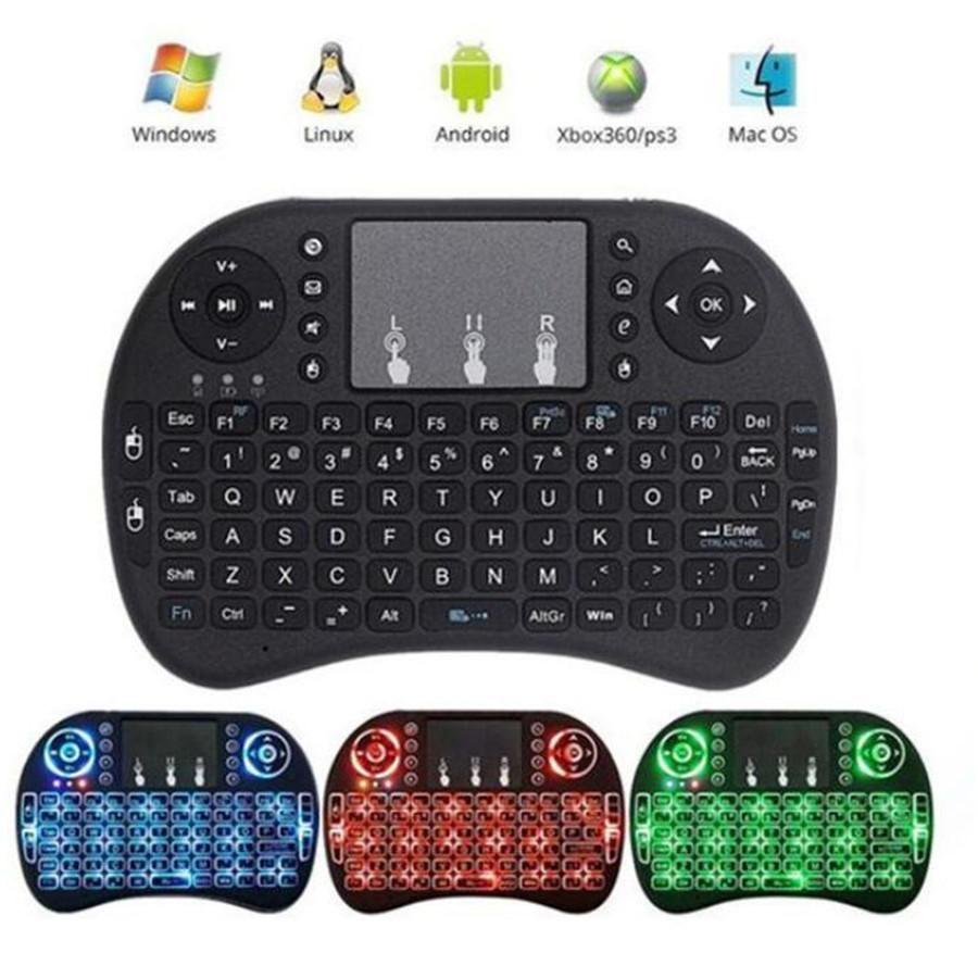 لوحة المفاتيح 100PCS البسيطة ثلاثية الألوان الخلفية I8 2.4G اللاسلكية ماوس الهواء لوحة المفاتيح للتحكم عن بعد لوحة اللمس الذكية الروبوت التلفزيون مربع الدفتري اللوحي