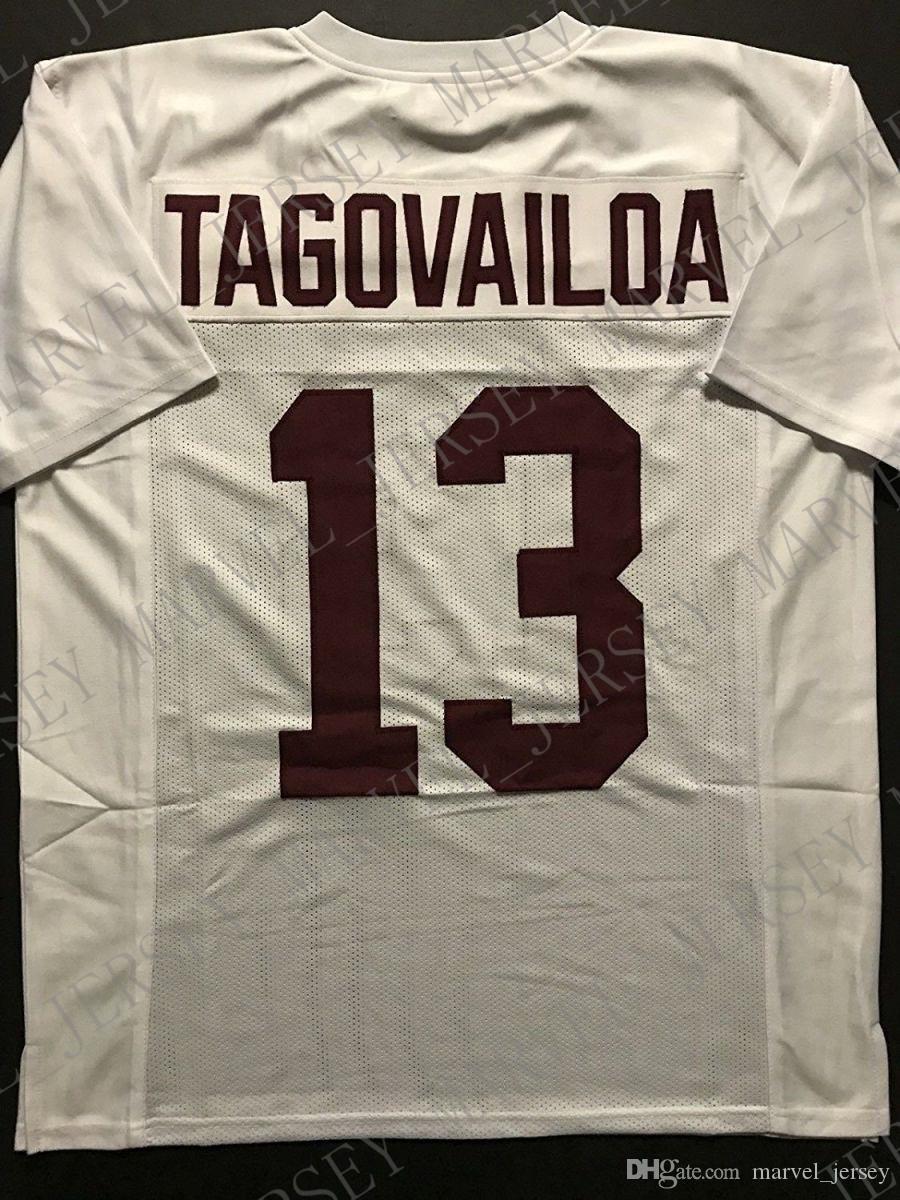 ordinazione poco costoso TUA TAGOVAILOA Alabama Bianco college personalizzato cucito del calcio Jersey Mens XL Customized Qualsiasi numero nome cucito Jersey XS-5XL