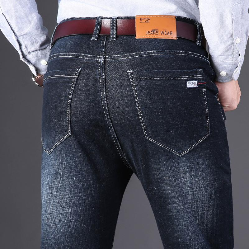 Slim Fit джинсы джинсовые брюки Брюки Мужской Байкер Тощий Мужчины Эластичный Свободный дизайнер Мягкая Жан Бизнес Прямая работа Голубой Черный