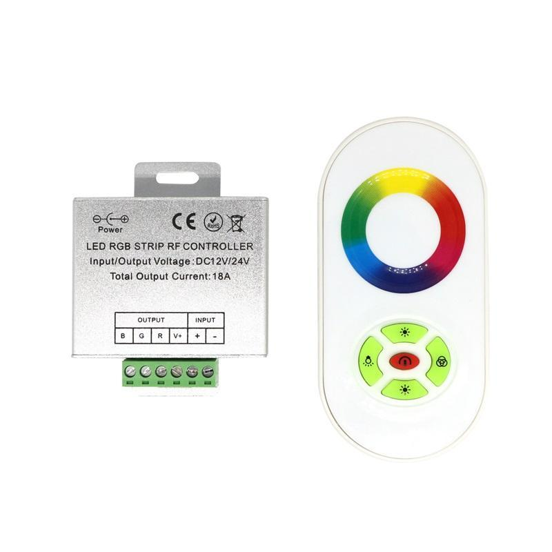Sem fio RF Hot Toque Dimmer remoto controle remoto RGB controlador DC 12V-24V 18A RF para 3528 LED RGB Faixa Luz 5050 fita de diodo