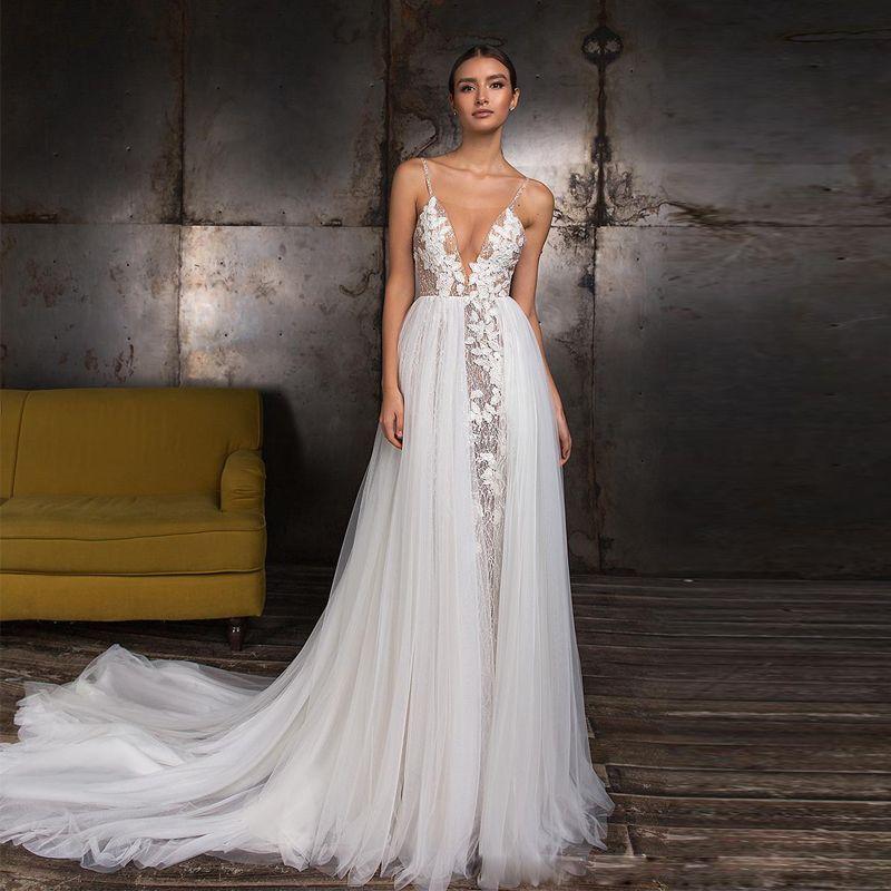 2019 Sexy A-ligne sequin Bohême robes de mariée spaghetti robe de mariée Bracelet Dessus de jupe en tulle train Robe de Novia
