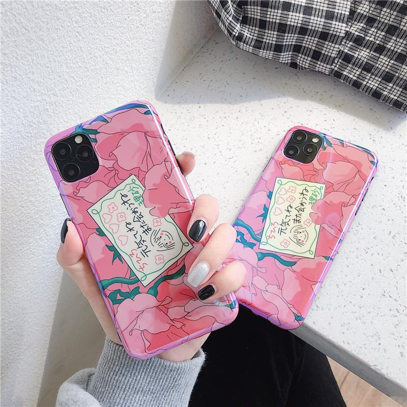 Pink Blue Ray cherry blossom Girl Phone Case for Iphone 11 Pro Max X Xr Xs Max 6s 7 8 Plus Floral Soft IMD Silicon Back Cover