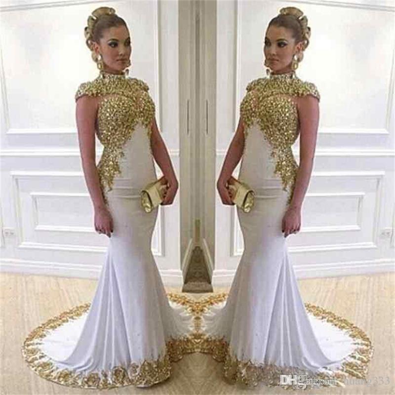2019 새로운 레이스 여자는 반짝 이는 Vestido 드 페스타 높은 목 긴 캡 슬리브를 착용 화이트 두바이 공식 예복 가운 사우디 아라비아 인어 이브닝 드레스