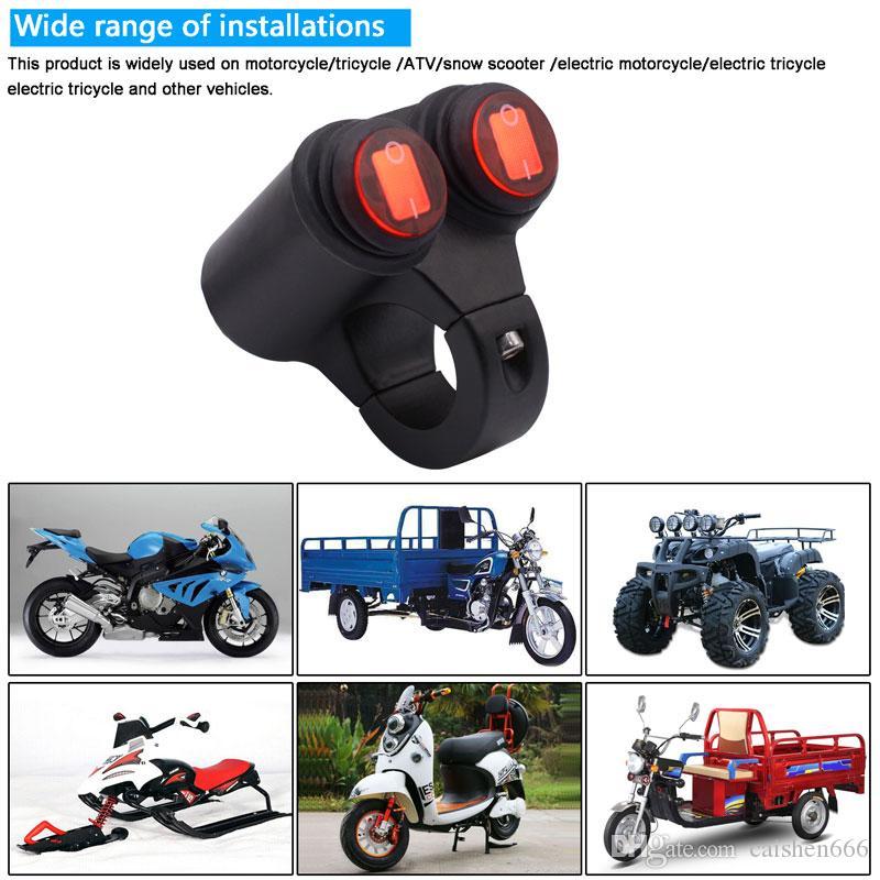 2,5/cm moto manubrio doppio controllo interruttore faro faretto interruttori on//off con spia luminosa