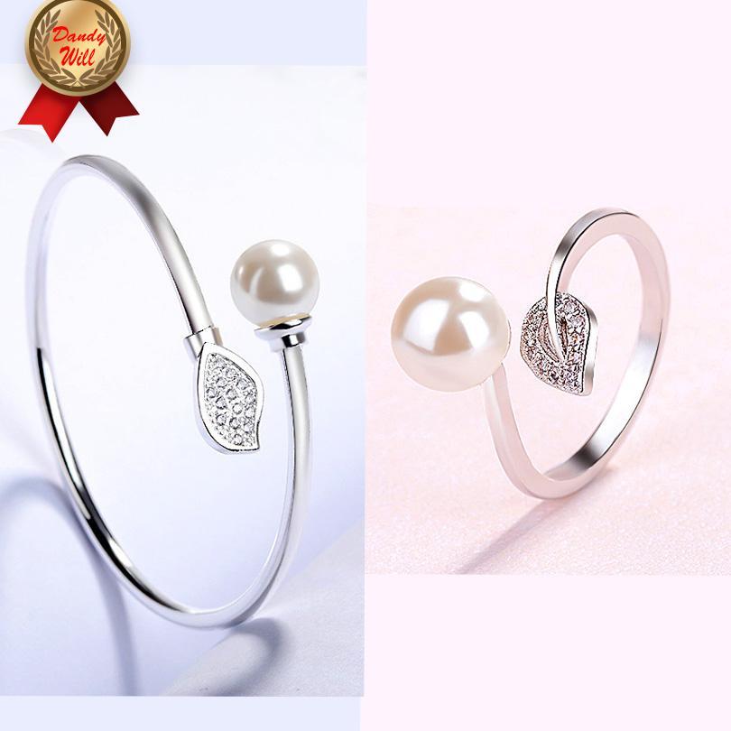 Белые Свадебные украшения наборов Pearl браслет Кольцо Набор для женщин Серебряного цвета дара