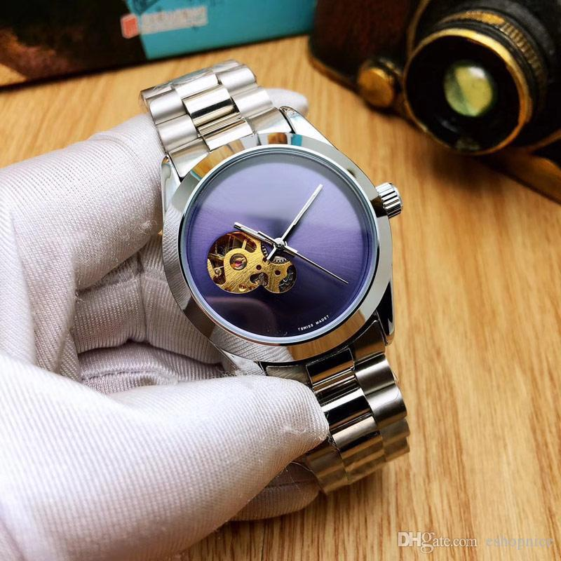 Dorpshipping business mens watches Full Stainless Steel 39mm Skeleton Dial Mechanical Automatic Wristwatches gold watch for men best gift