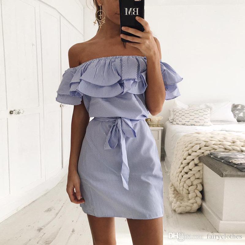 2019 Yeni Yaz Sıcak Kadınlar Etek fırfır Slash Boyun Çizgili Moda Nedensel 5 Renk Sevimli elbiseler
