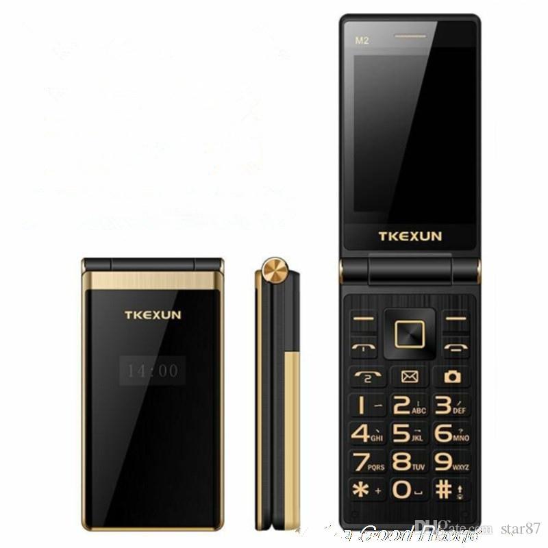 Luxury Dual Screen Flip cell Phone Original TKEXUN M2 Dual Sim card Camera MP3 MP4 3.0 Inch Touch Screen Quad Band celular Mobile Phone