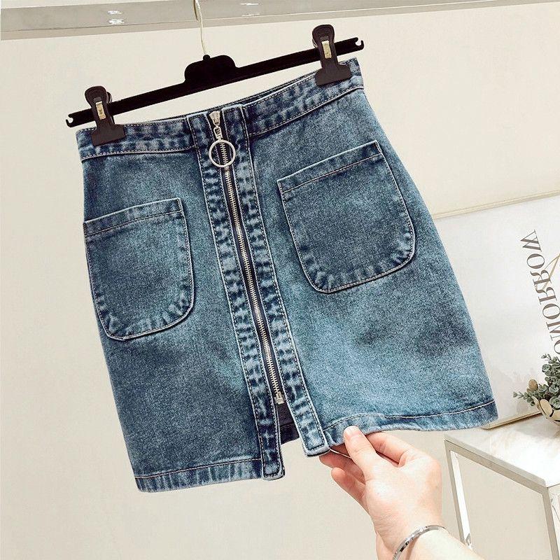 SOMMER Art und Weise Frauen-hohe Taillen-Front-Reißverschluss-Denim-Rock-beiläufige Reißverschluss A-Linie Minirock Tasche Strings Baumwolle Jeans Rock