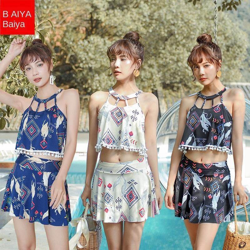 conjunto de dos piezas de las mujeres SEOA6 divide el pecho pequeño reunieron atractivo estilo de la falda del hombro expuestas pequeña brisa de primavera caliente sin tirantes 056100 falda SWI