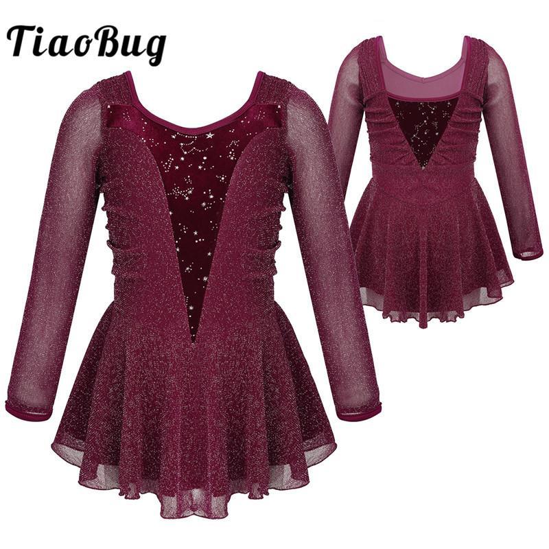 TiaoBug Kids Teens Mädchen Lyrical Tanz Kostüme Silver Glitter Glänzend langen Ärmeln Ballett Eiskunstlauf Kleid Gymnastik Trikot