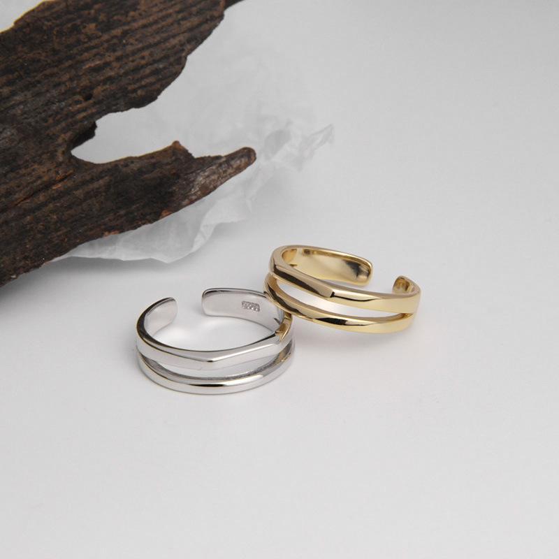 Silvology argento 925 Double Layer Asimmetria Anelli per la donna elegante linea lucido Chic Anelli monili alla moda