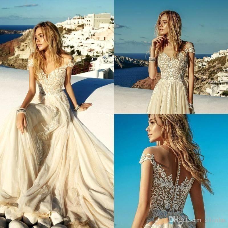 2019 Nuevo verano Luz de champán Vestidos de novia Boho Beach Chiffon Lace A Line apliques Largos Vestidos nupciales Robe de Mariee BC1819