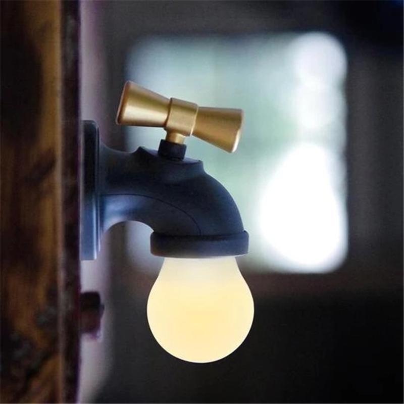 현대 간단한 황동 건설 핫 차가운 분지 싱크 수도꼭지 욕실 싱크 수도꼭지 크리 에이 티브 수도꼭지 벽 램프 지능형 음성 제어에서 Indu