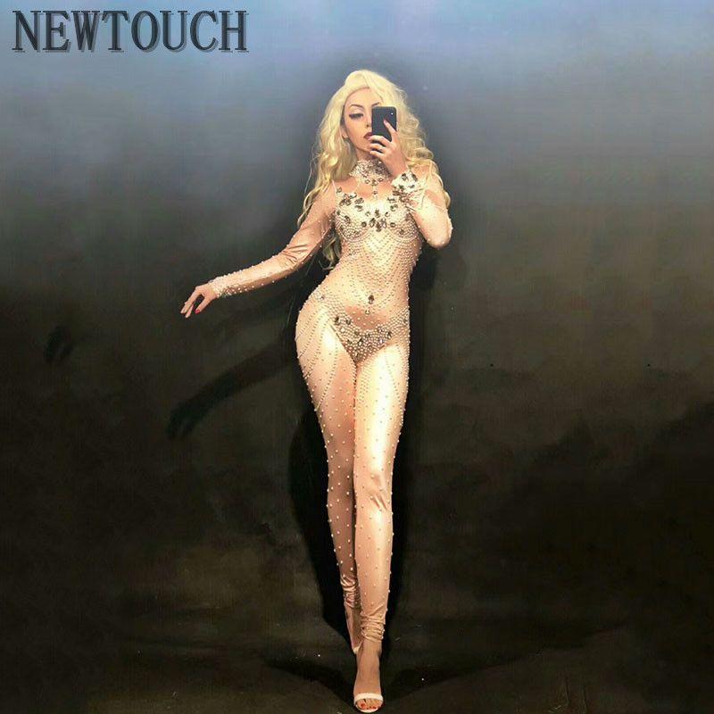 Блестящее стекло дрель Сексуальная высокоэластичная с длинными рукавами платье певица танцовщица яркий боди цельный партия сексуальные платья